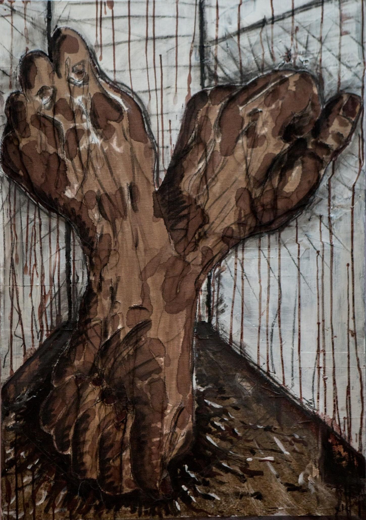 Fils noirs, papiers, peinture sur toile 116 x 81.5cm
