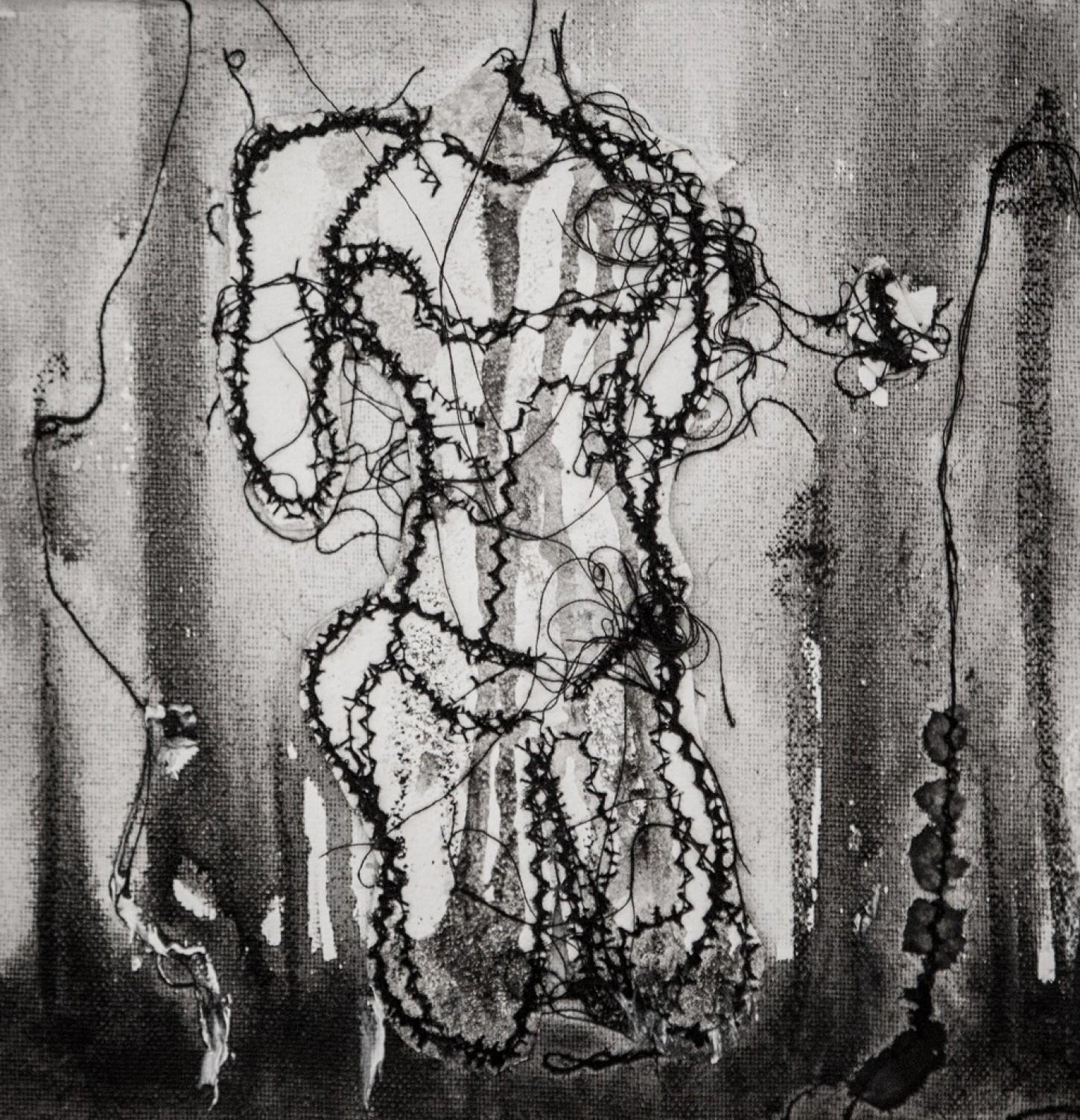 fils noirs, tissus, peinture sur toile 20 x 20cm
