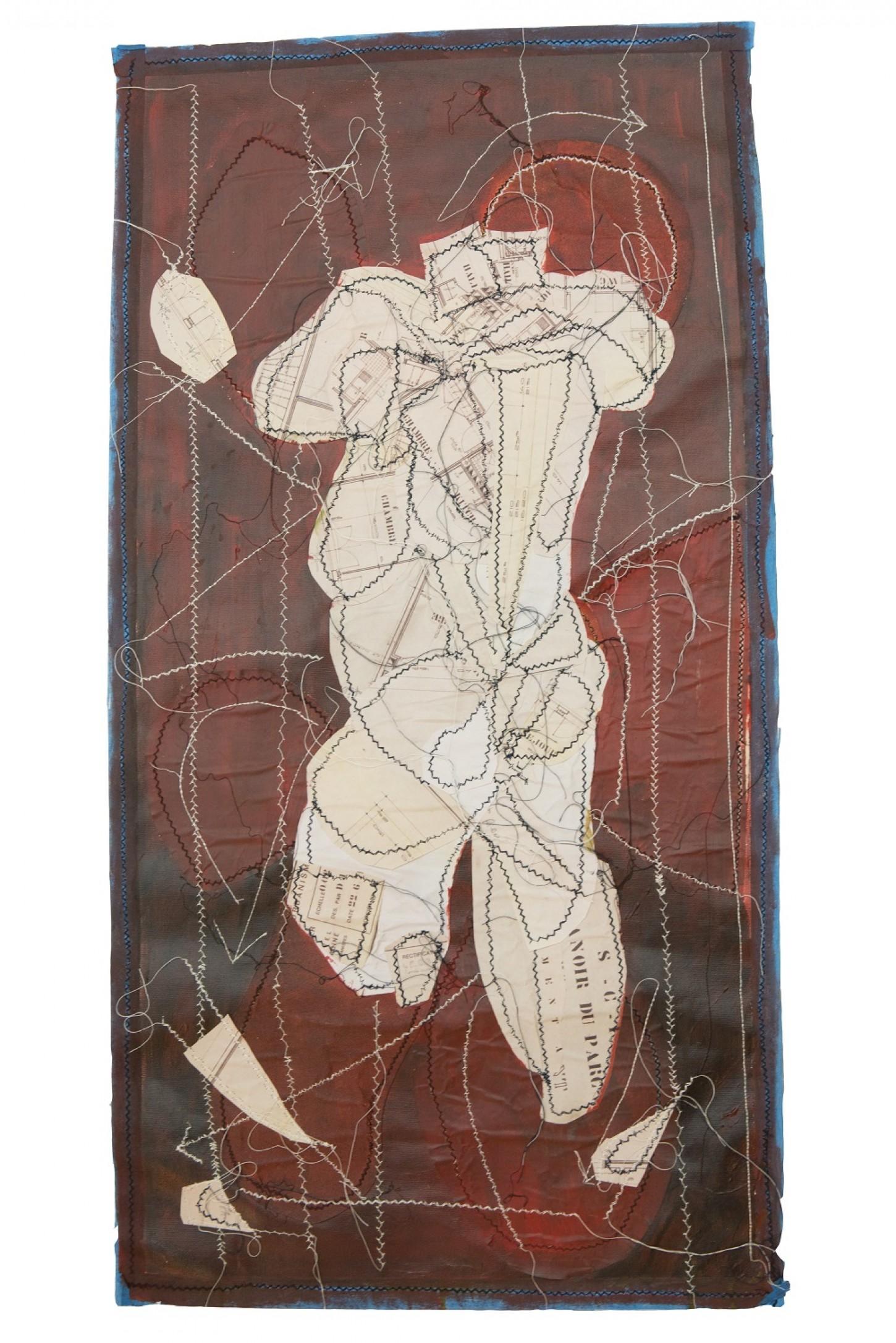 papier,fils blancs et noirs ,peinture sur toile 46 x 88cm