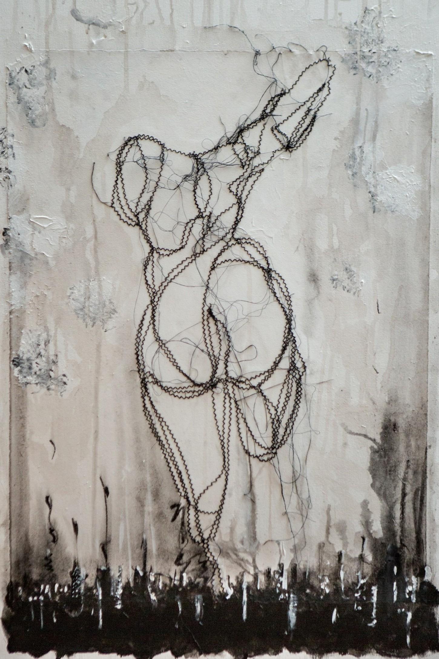fils noirs, papier, peinture sur toile 54 x 81 cm