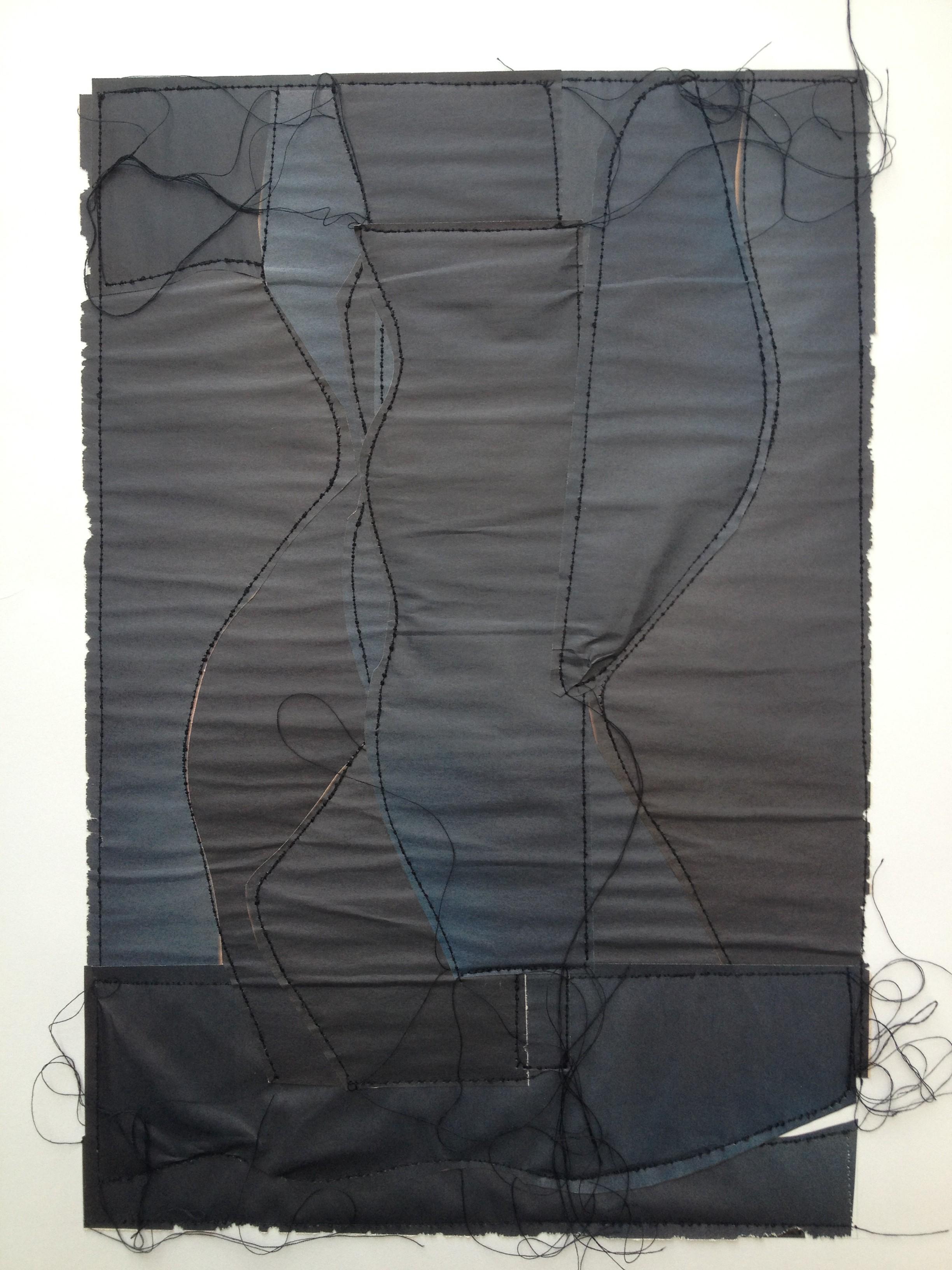 fils noirs, papiers sur Canson 50x65 cm