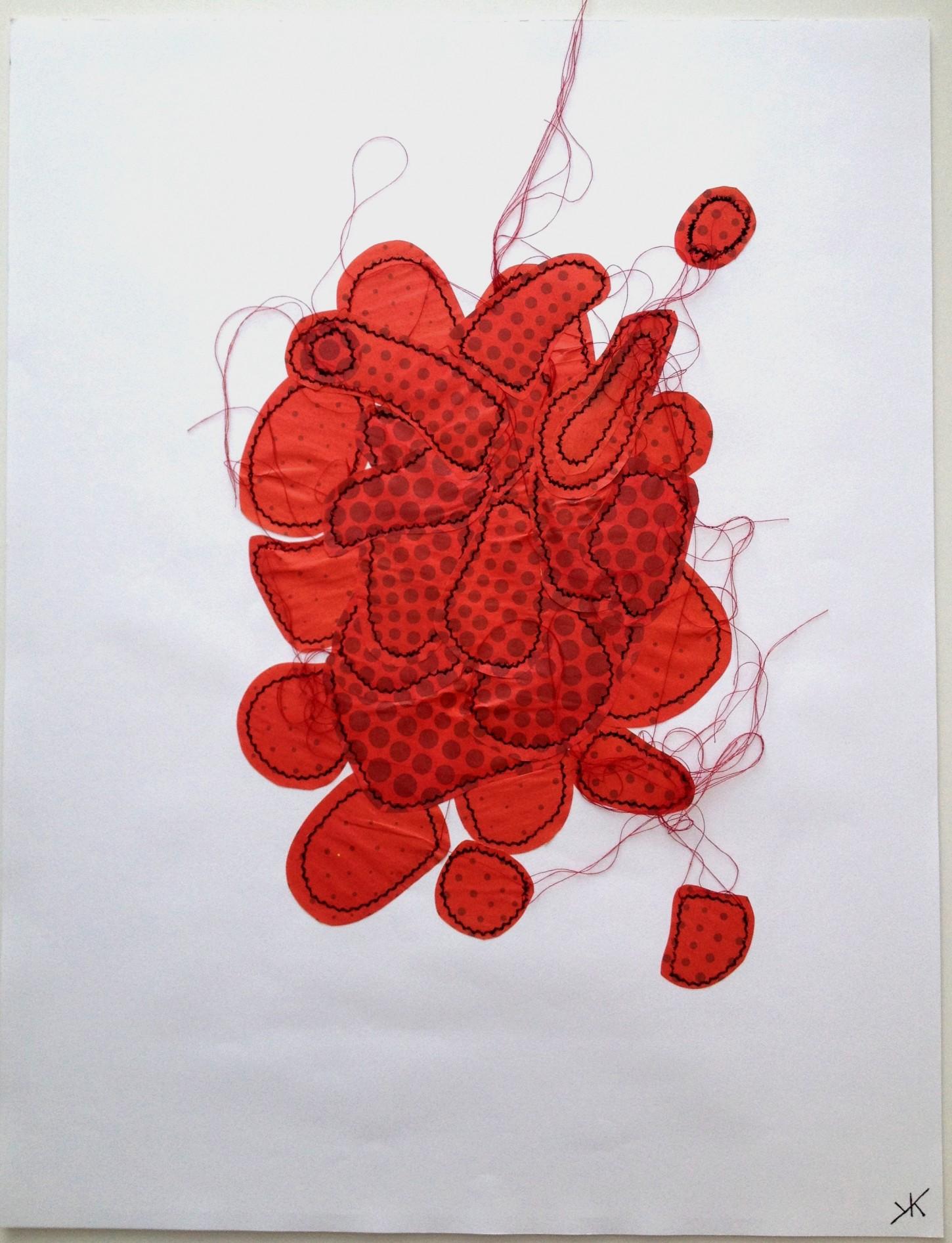 fils noirs et rouges, papiers sur canson 50x65 cm