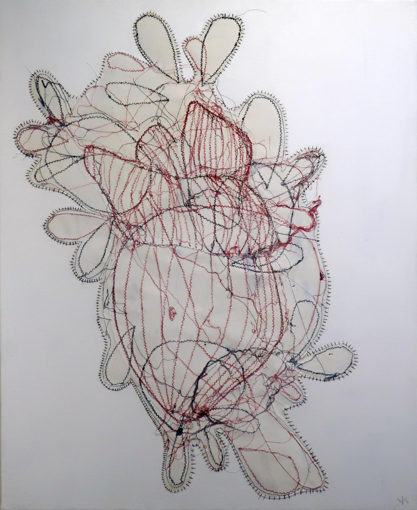 Fils blancs, noirs, rouge papiers, peinture sur toile 64x80cm