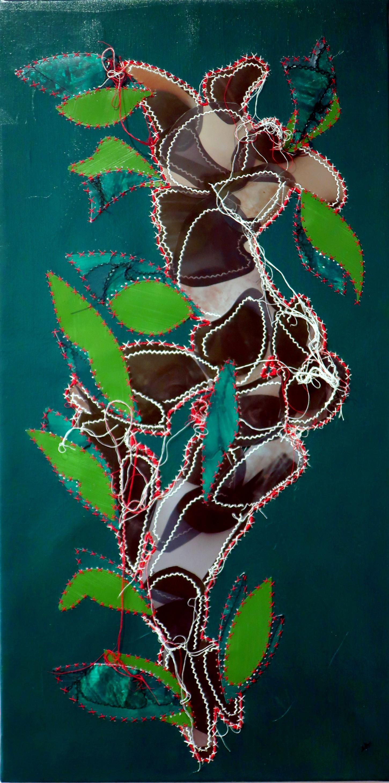 Fils blancs, noirs, rouge papiers, radiographies, peinture sur toile 40x80cm