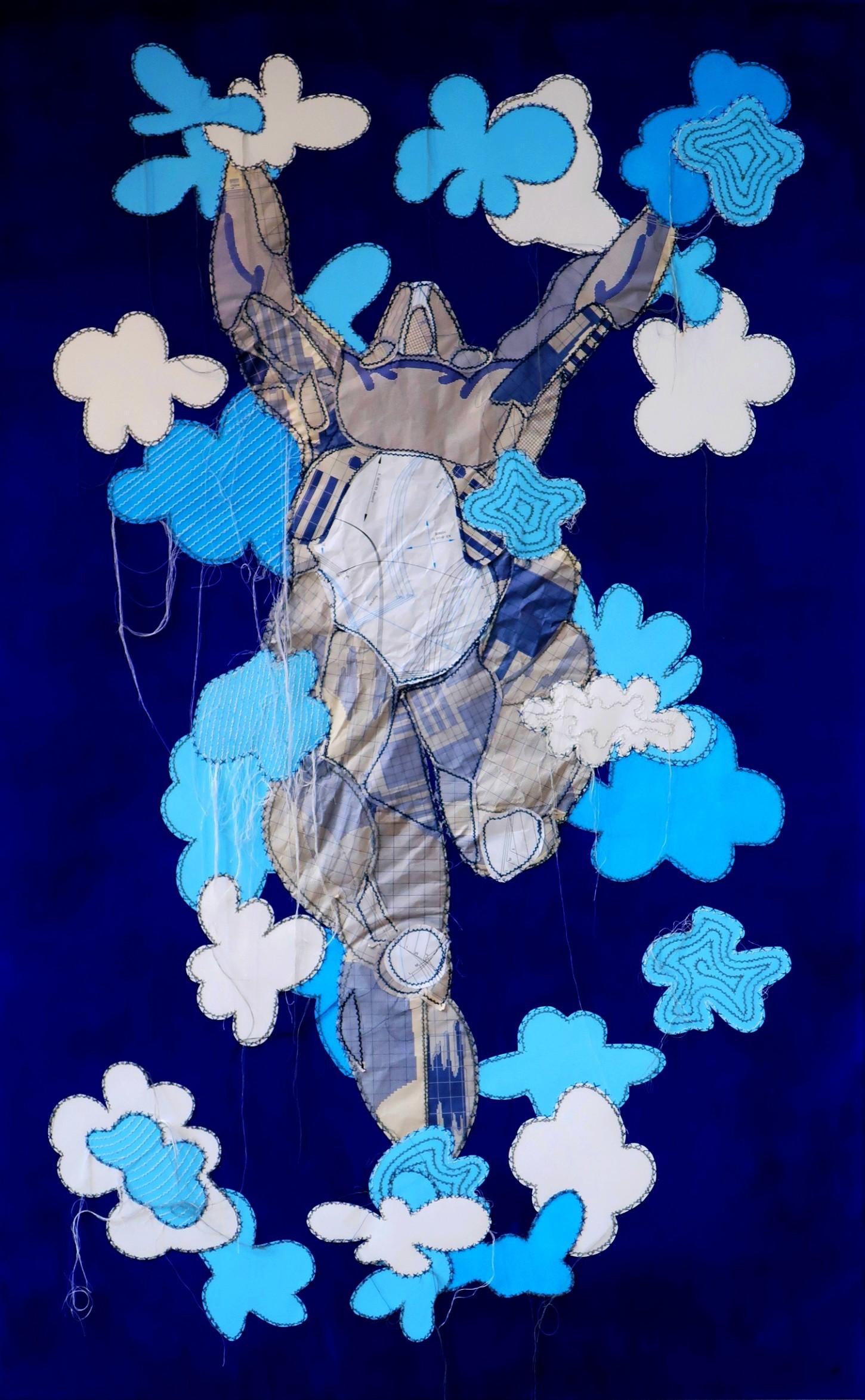Fils blancs,gris,bleus, papiers, patrons, peinture sur toile 100x160cm